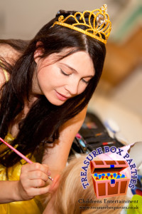 Princess Belle Face Painting at a Kids Party before doing Magic like a magician and being a childrens entertainer