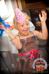 Kids love our parties with bubbles, party games, mini disco and music. We provide childrens parties for Surrey, Hampshire and Berkshire