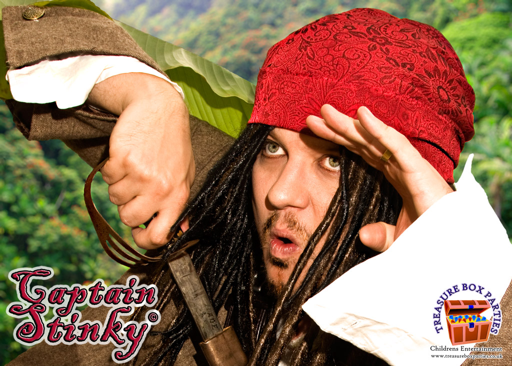 Childrens entertainer Captain Stinky in Surrey Berkshire Hampshire pirate party princess parties disco games bubbles smoke machine