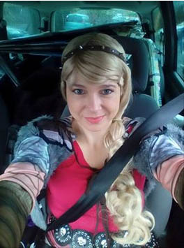 Astrid in the car