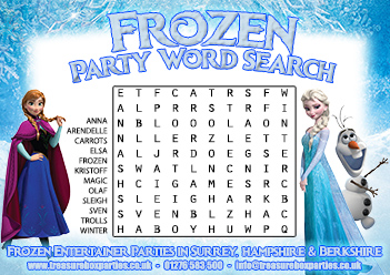 A Free Printable Frozen Movie Wordsearch