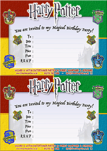 Free Harry Potter Printable Party Invitation Two Invites Per A4 Page