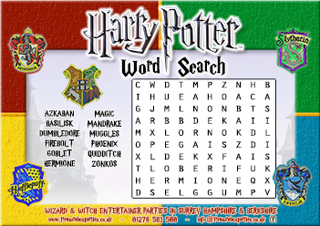 Zany image inside harry potter activities printable