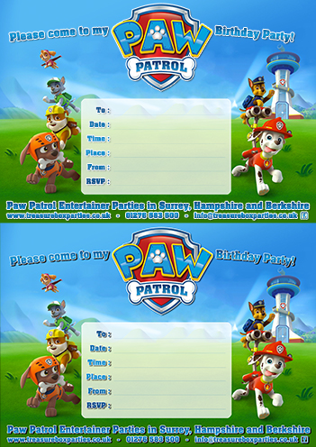 Paw Patrol Birthday Party Invitation Sheet