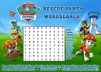 Paw Patrol Wordsearch Childrens Entertainer Parties