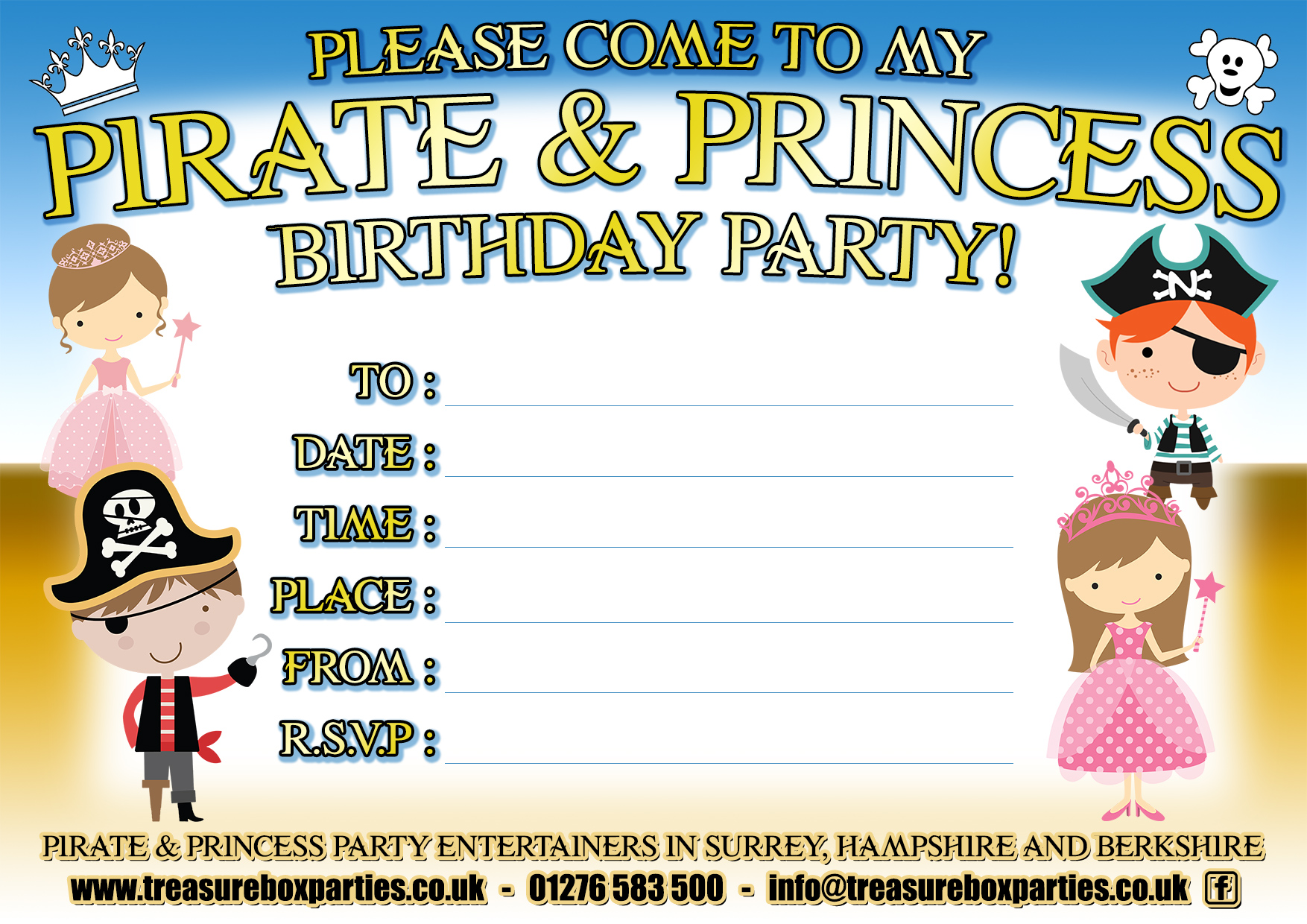 Pirate and Princess Party Downloads - Free Invitations and Party Bag ...