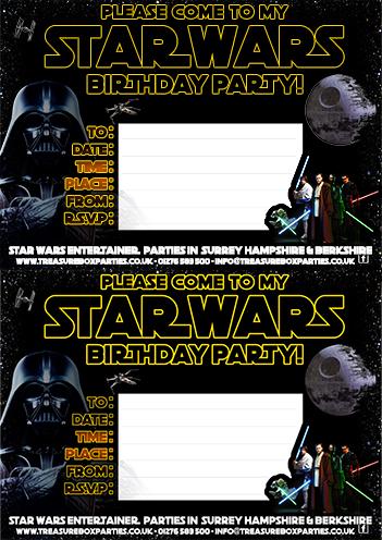 A free printable Star Wars Birthday Invitation Sheet Childrens