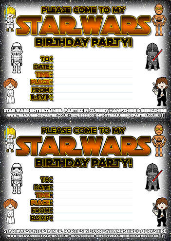 Star Wars Printable Birthday Party Invitation Sheet