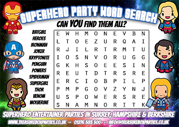 Free Printable Superhero Wordsearch