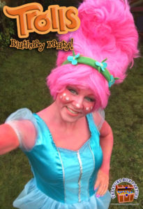 One of our entertainers performing at a Trolls Birthday Party
