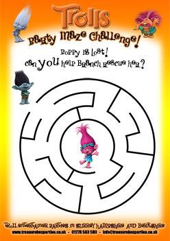 Trolls Movie Free Printable Maze Activity Sheet