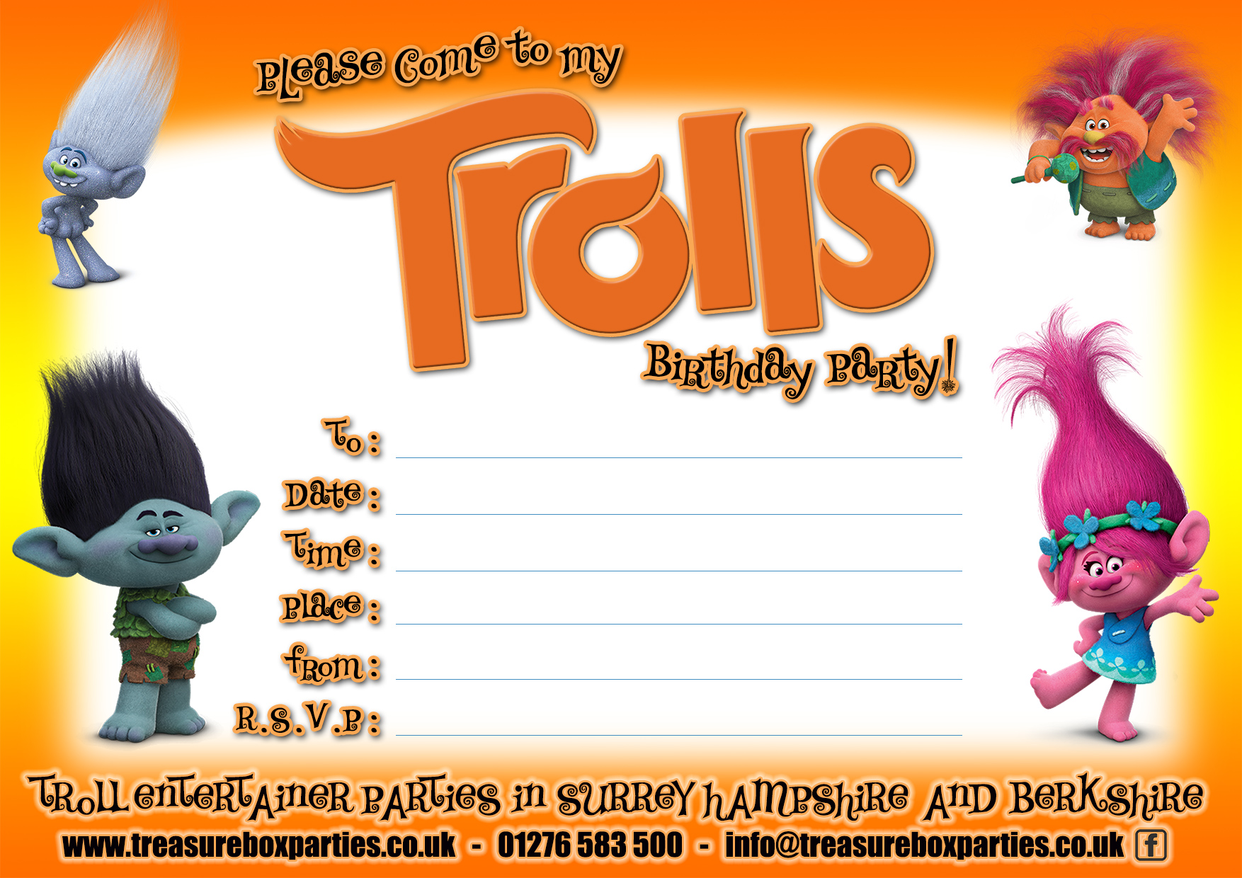 Download Now3951 Downloads Trolls Movie Printable Birthday Party Invitation Sheet