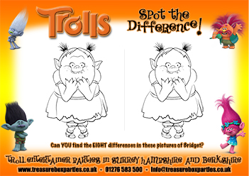 Free Trolls Movie Printable Spot the Difference Puzzle  Childrens