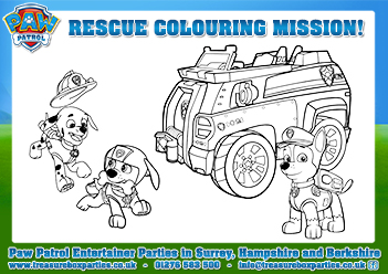 free paw patrol colouring printable page 02 - childrens entertainer parties surrey berkshire