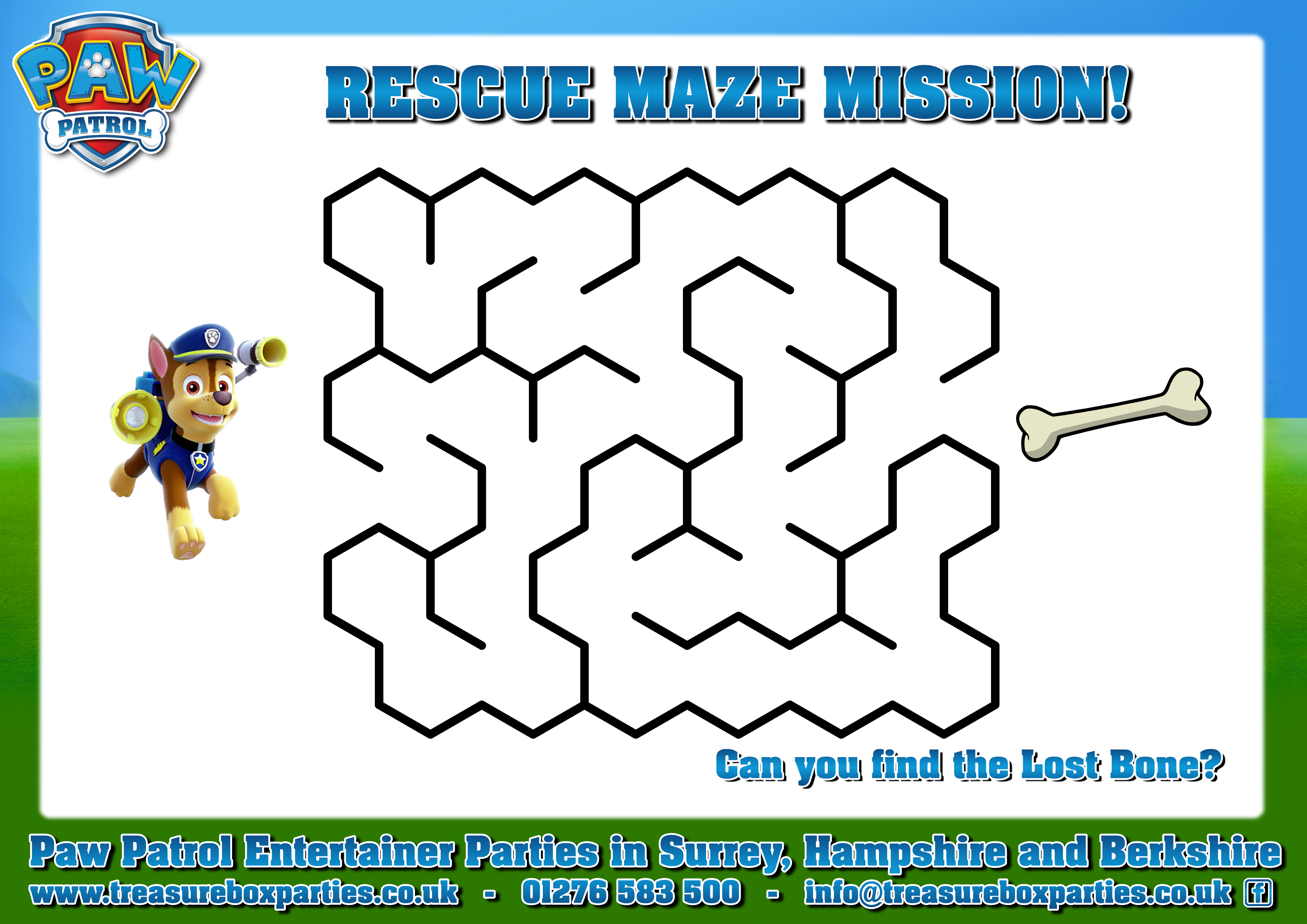 Paw Patrol Printable Maze Activity Sheet Childrens Entertainer Parties Surrey Berkshire Hampshire Treasure Box Parties Supplies Kids Party Games Ideas