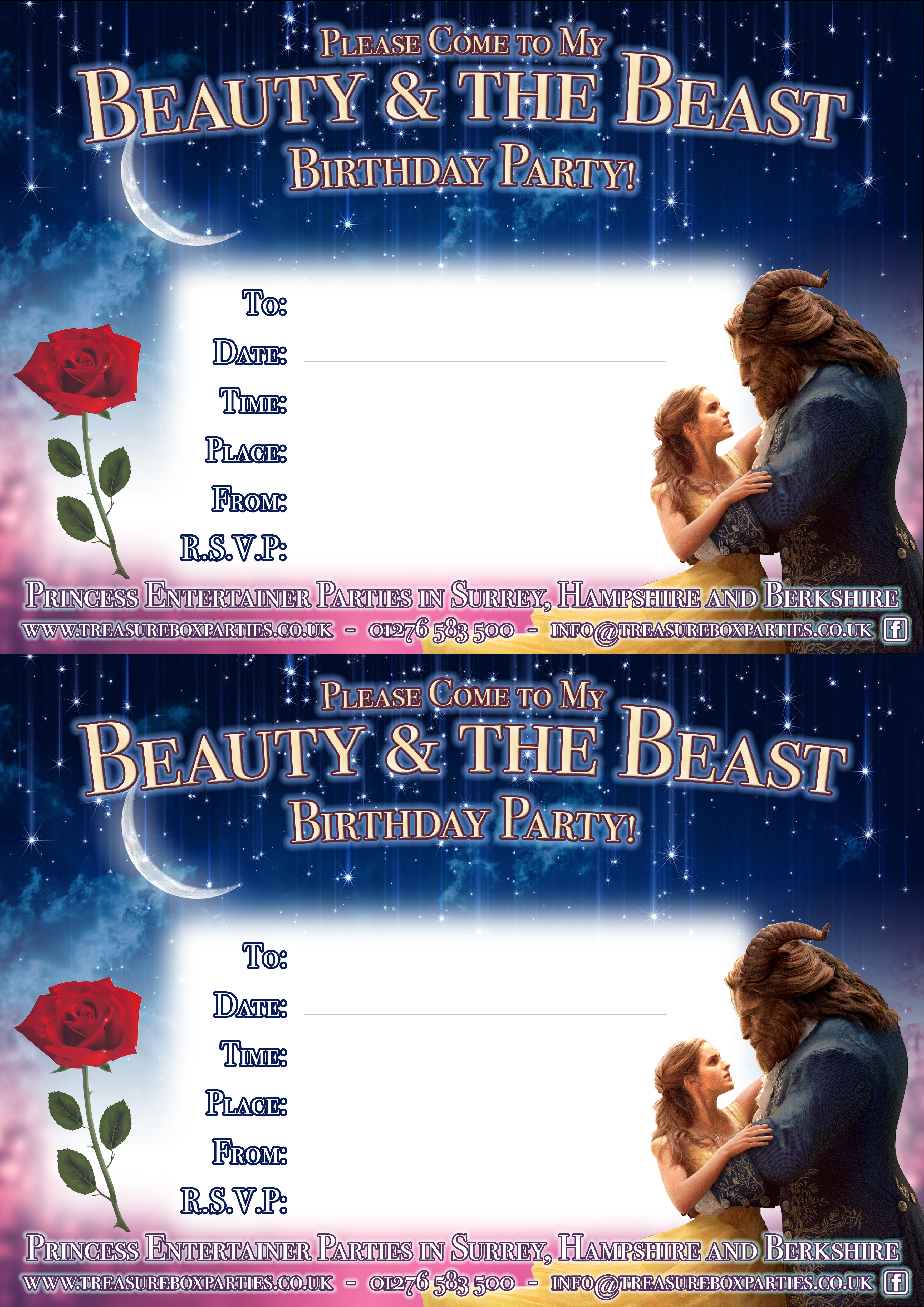 Free Beauty and the Beast Downloads – Printable Party Invitations ...