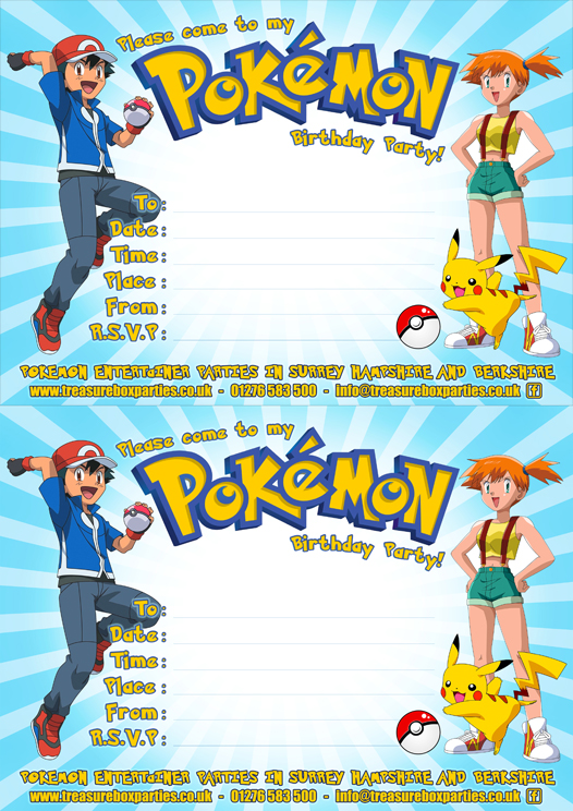 free pokemon party downloads – printable party invitations, Party invitations