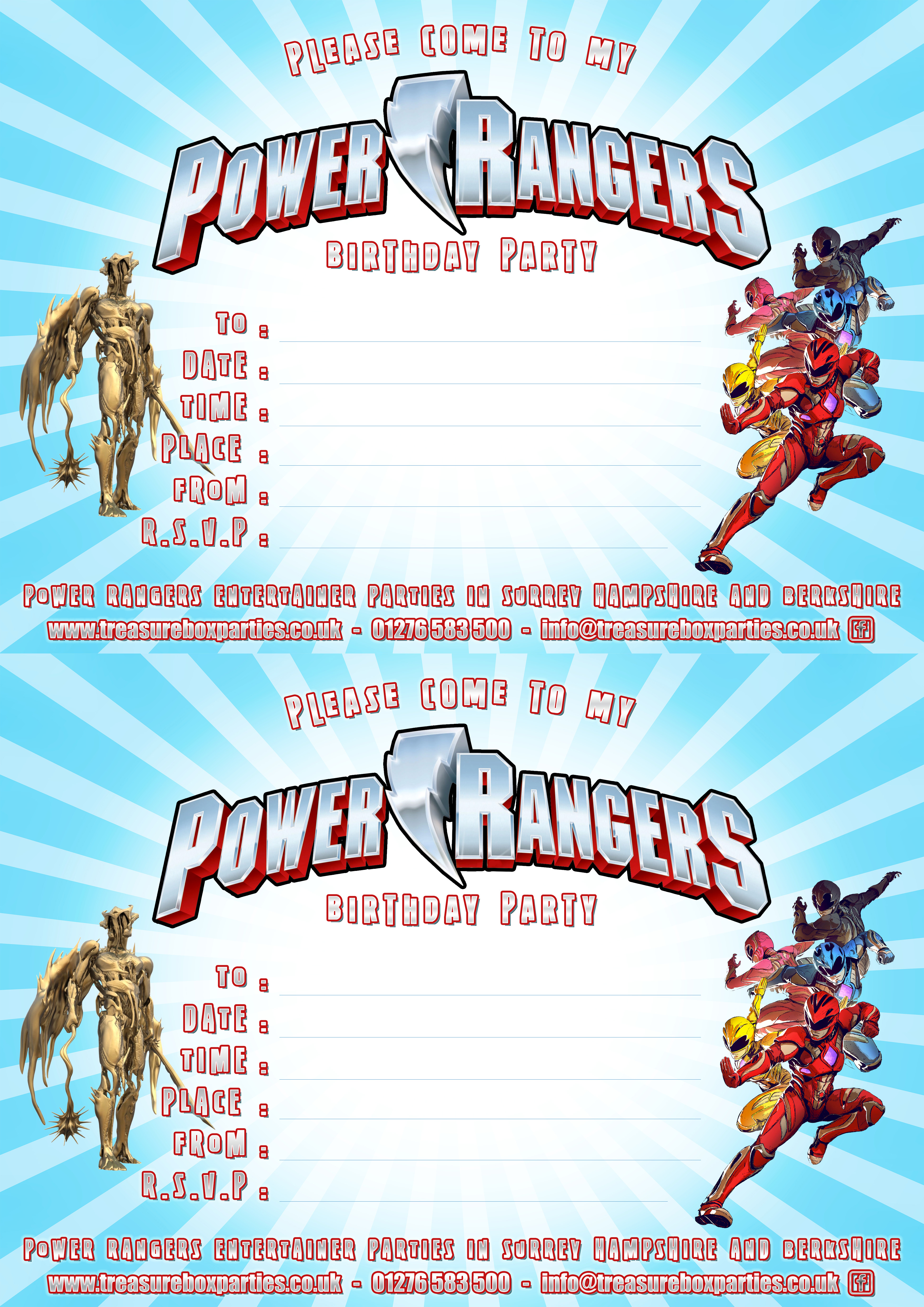 Free Power Rangers Birthday Invitation Template Ranger Invitations Downloads