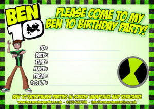 Ben 10 Printable Party Invitation