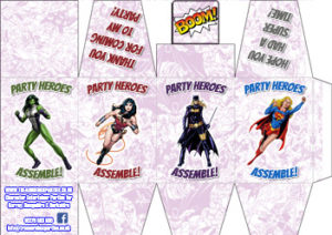 Printable Party Favour Box - Superhero Female - thumb
