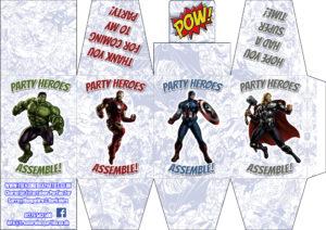 Printable Party Favour Box - Superhero Male