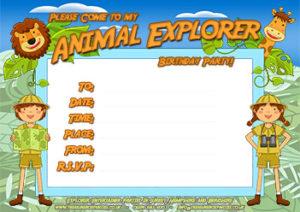 Animal Explorer Party Invitation