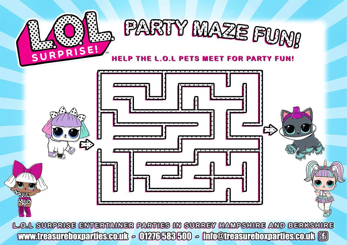 Lol Surprise Dolls Birthday Party Maze Activity Sheet Childrens