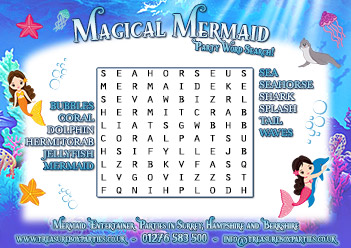 Mermaid Birthday Party Free Printable Wordsearch Activity